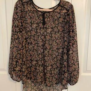 Pleione black floral blouse